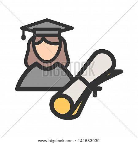 Graduate, female, university icon vector image. Can also be used for schooling. Suitable for use on web apps, mobile apps and print media.