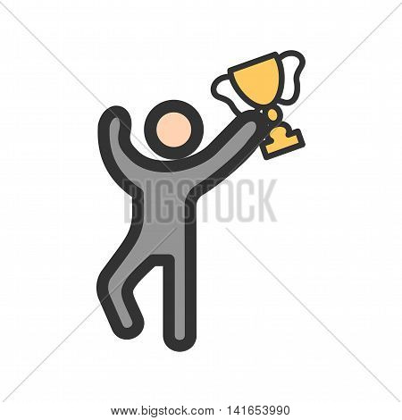 Winner, cup, trophy icon vector image. Can also be used for schooling. Suitable for use on web apps, mobile apps and print media.