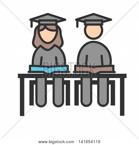 Student, sitting, school icon vector image. Can also be used for schooling. Suitable for use on web apps, mobile apps and print media.