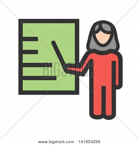 Business, female, presentation icon vector image. Can also be used for schooling. Suitable for use on web apps, mobile apps and print media.