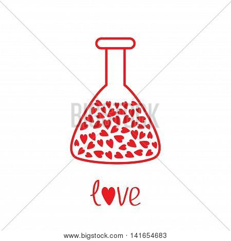 Love laboratory glass with hearts inside. Thin line icon. Greeting card. Flat design. White background. Isolated. Vector illustration.