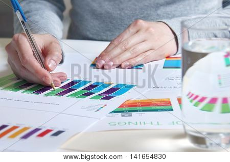 Reviewing business report with charts and graphs