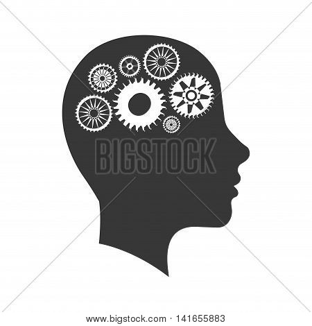 cog gear head man machine part technology icon. Isolated and flat illustration. Vector graphic
