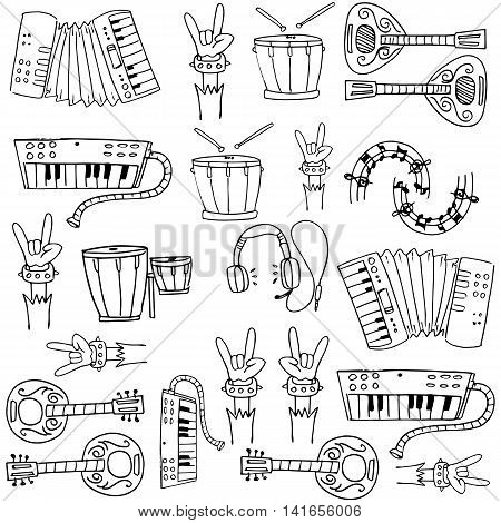 Doodle of music collection stock vector illustration