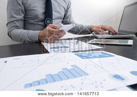 Man Designer Working Digital Tablet And Smartphone And Digital Design