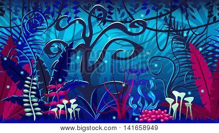 Fanciful jungle at night, background  vector illustratioin