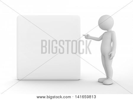 Toon man pointing at a blank banner, billboard, your advertisement. 3D illustration