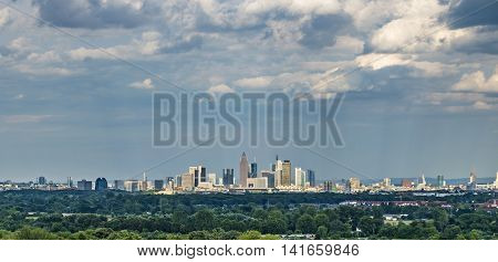 Skyline Of Frankfurt Hoechst With Blue Sky