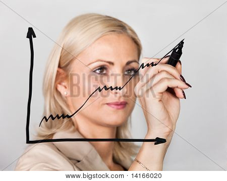 Businesswoman drawing growth chart