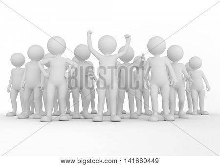 Successful team concept. Toon men people together. 3D illustration