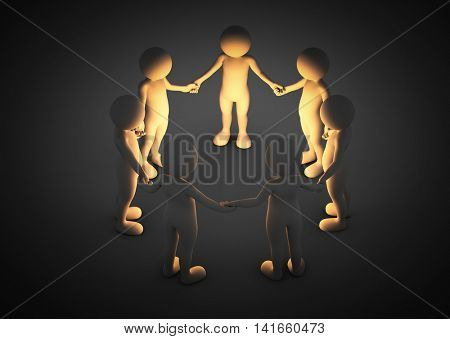 Toon men holding hands in a circle. Light shining. Brainstorm, teamwork, connection concept. 3D illustration