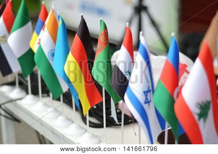 A collection of different types of flags of different countries