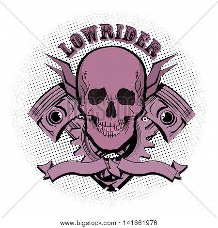 Lowrider skull motor emblem. Vector illustration halftone