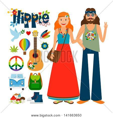 Hippie people vector. Hippie woman with long hair and man with guitar