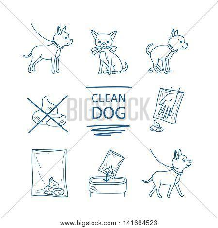 Dangerous dog clean up poop vector blue line doodles