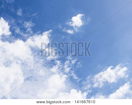 Blue Sky with Clouds in Left below Corner for Business Background having open copy space for your text business message and advertising quotes copy space message and advertising quote copywriter and space for statements.