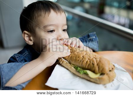 Boy Child Kid Bread Sandwich Eating
