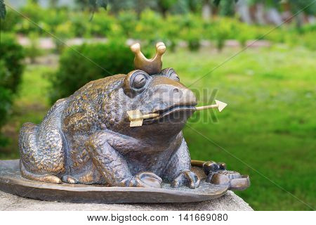 KIEV UKRAINE - 18 JUNE 2016: The well known character of the Russian fairy tale - the Frog Princess. Recently erected statue in Kiev Ukraine