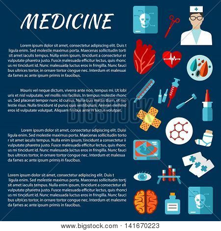 General medicine template for medical examination concept design with flat icons of thermometer, syringe, doctor, heart, medicine bottle, test tube, tool, brain, eye, x-ray, ultrasound, plaster