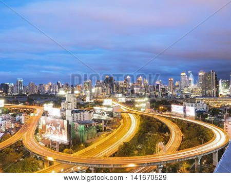 Bangko Express Way at Twilight with Cloudy Sky having open copy space for your text business message and advertising quotes copy space message and advertising quote copywriter and space for statements.