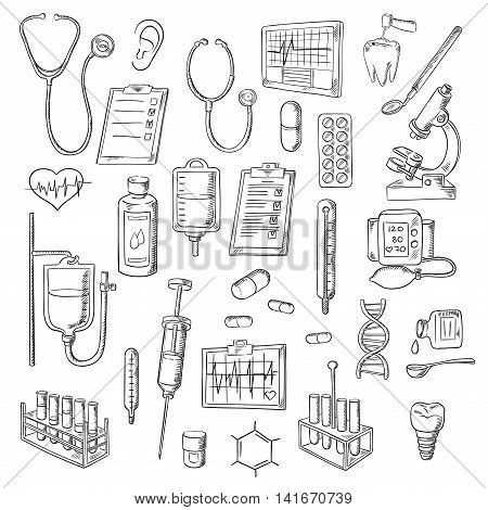 Sketched stethoscopes, thermometers and syringes, medicines, test tubes and drip chambers, microscope, heart and ear, dentist tools, tooth implant, checkup form, ecg and blood pressure monitors, DNA helix and chemical formula symbols