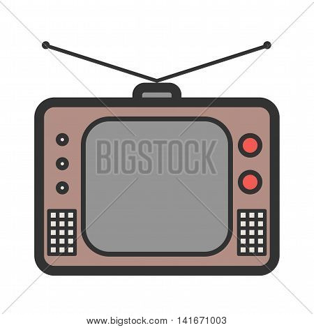 TV, old, set icon vector image. Can also be used for hipster. Suitable for use on web apps, mobile apps and print media.