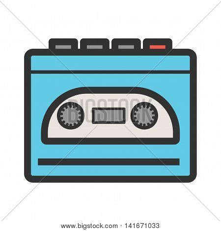 Player, music, cassette icon vector image. Can also be used for hipster. Suitable for use on web apps, mobile apps and print media.