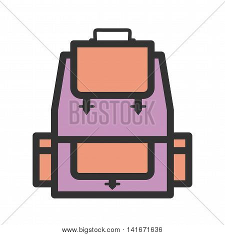 Backpack, school, bag icon vector image. Can also be used for hipster. Suitable for use on web apps, mobile apps and print media.