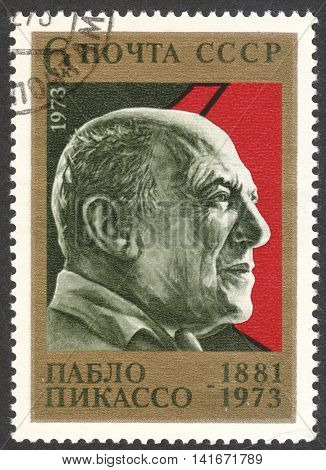 MOSCOW RUSSIA - CIRCA MAY 2016: a post stamp printed in the USSR shows a portrait of Pablo Picasso circa 1973