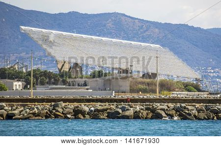 BARCELONA SPAIN - JULY 13 2016: Solar Power Station at Forum area in Barcelona. This area held the 2004 Universal Forum of Cultures.