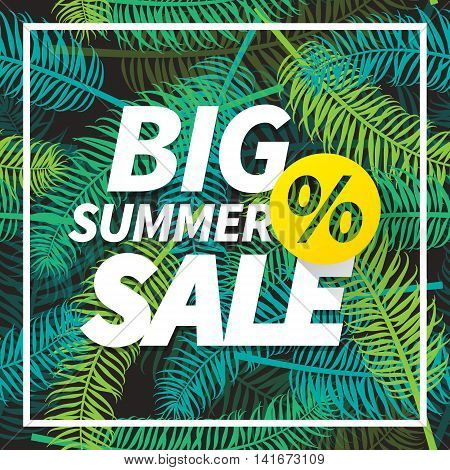 Seasonal big summer sale business advertisement text with percent sign on palm leaves background. Editable vector design for web or print.