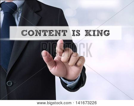 Content Is King, Businessman Touching A Touch Screen