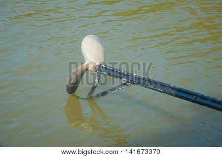 Close up of propeller of boat transport