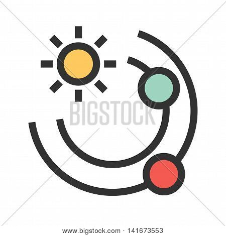 Planets, solar, system icon vector image.Can also be used for astronomy. Suitable for use on web apps, mobile apps and print media.