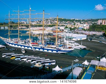 Fort-de-France, Island Martinique, Overseas region and department of France - February 08, 2013: The ships in the harbour of Fort-de-France in Martinique, Caribbean