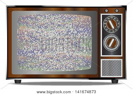 An old wood surround television receiver over a white background with a static screen