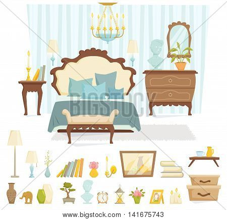 Bedroom interior with furniture and decoration in classic style. Bedroom interior cartoon vector illustration. Bedroom furniture and decor: bed, bedside table, shade lamp, chest of drawers.