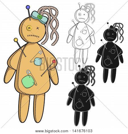 Vector set of images with a voodoo doll. Isolated objects on a white background.