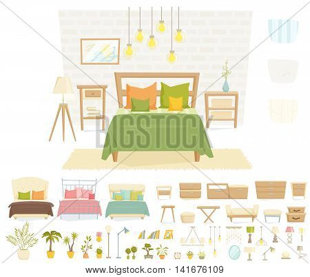 Bedroom interior with furniture and decoration set. Bedroom interior cartoon vector illustration. Bedroom furniture and decor: bed, bedside table, lamp, pillow, shade, plant, wall. Modern interior