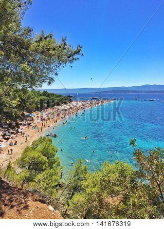 View of Zlatni Rat beach in Bol, on the island of Brac, Croatia.