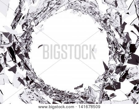 Pieces Of Shattered Glass On White Background