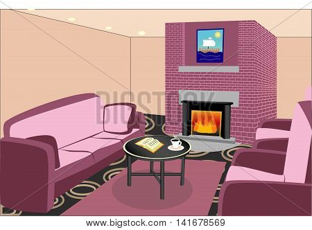 Interior living room with fireplace. Vector graphics