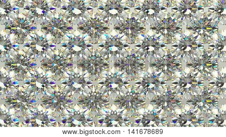 Sparkling Large Diamonds Or Gems In Rows