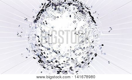Bullet Hole: Cracked And Shattered White Glass