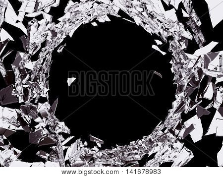 Bullet Hole In Shattered Glass On Black