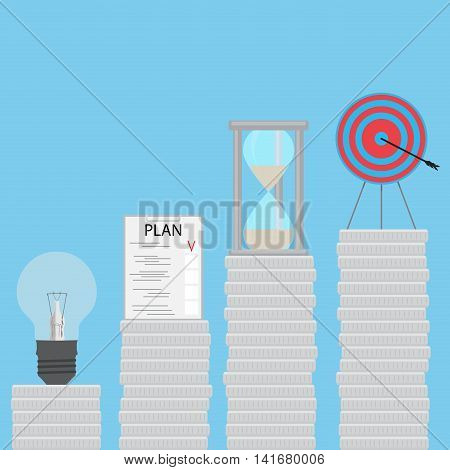 Coin stairs to goal. Step by step stairs to step up idea and plan time and goal. Vector illustration
