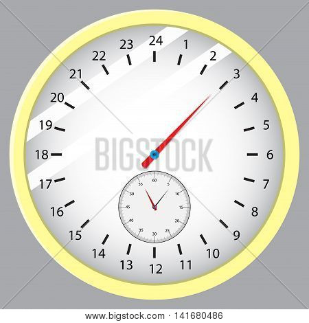 Dial hours minutes and seconds. Time and watch clock vector with clock face stopwatch and timepiece illustration