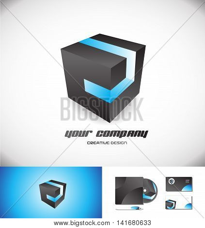 black cube logo icon element template 3d design vector company blue stripe games media corporate business
