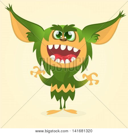 Happy cartoon gremlin monster. Halloween vector goblin or troll with green fur and big ears