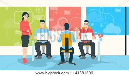 Businesswoman Teacher People Group Working On Laptop University Professor Students Flat Vector Illustration